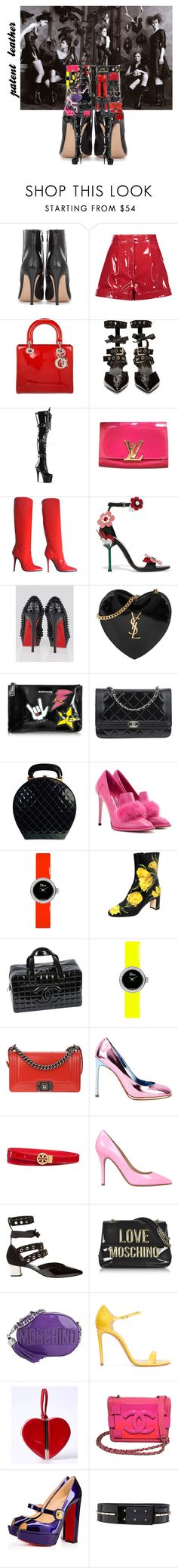 """""""patent leather"""" by jmadison1956 ❤ liked on Polyvore featuring Versace, Gianvito Rossi, Valentino, Christian Dior, Robert Clergerie, Louis Vuitton, Giuseppe Zanotti, Prada, Christian Louboutin and Yves Saint Laurent"""