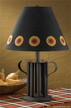 Prim Candle Mold Lamp w/ Wool Penny lampshade