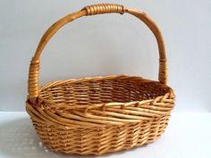 Oval Wicker Gathering Basket, Woven Wicker Market Basket or Garden Basket by GentlyKept on Etsy