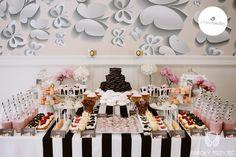 Glamour Wedding,Sweet table decor,Black&white / Wesele galmour,Słodki stół,Czarno-biały,Anioły Przyjęć
