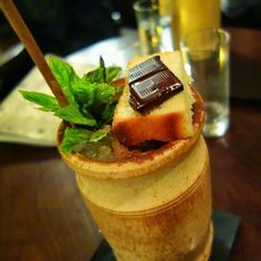 Food break! Cocktail time. Checking out #3 on The World's 50 Best Bars... #Nightjar. London's favourite speakeasy. LOVE this spot!!! Barrel-aged Zombie - Bacardi 8 year rum, Santa Teresa Claro Rum, Wray & Nephew Overproof Rum, Kraken Dark Rum, La Clandestine Absinthe, Merlet Apricot Brandy, Mraschino, Mamajuana Cordial, Fresh Pineapple Juice, Bitter Lemon. Served with a rum soaked pound cake with melting chocolate which they flambé at the table for you upon serving. Super delicious and…
