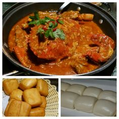 Singapore's national dish -  chili crab!! Mud crabs stir-fried in a semi-thick, fluffy, sweet and savoury tomato and chili based sauce with scrambled eggs mixed in. It's actually not very spicy, but delicious. Served with fried mantou and/or steamed mantou for dipping!! #MoveOverPorkBellyBuns #musttry #delicious #FMFinSingapore #Singapore National Dish, Crabs, Scrambled Eggs, Stir Fry, Mud, Singapore, Chili, Foodies, Dips