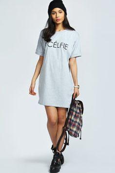 Sinead #CELFIE Dip Hem Tee Shirt Dress <3