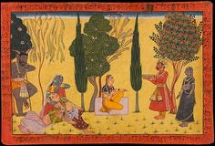 "Indra Offers Sita a Plate of Payas, a Heavenly Sweet. Illustrated folio from the ""Shangri"" Ramayana (The Adventures of Rama) (Style IV), Opaque watercolor and gold on paper, attributed to India, Punjab Hills, Jammu (Bahu), ca. 1710–40"