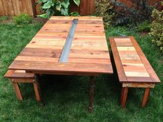 Outdoor Backyard Picnic Table With Ice Cooler Box In The Middle Plus Detached Bench Seat Made From Reclaimed Wood On Green Grass Garden Ideas, Picnic Bench Garden and Patio