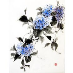 Japanese Ink Painting Suibokuga Sumi-e Asian art Japanese art Rice paper painting Blue Hydrangea