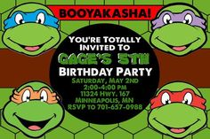 Nice Teenage Mutant Ninja Turtles Birthday Invitations  Download this invitation for FREE at https://www.drevio.com/teenage-mutant-ninja-turtles-birthday-invitations/