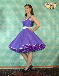 50's vintage dress full skirt purple with by Lolablossomclothing