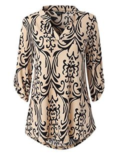 e6859215 Dawiine Womens Casual Tunic Shirts Roll Sleeve Floral Print Pullover Tunic  Blouse Tops (S-XXL)