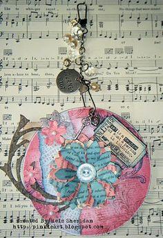 "** ""Art Is A Shadow""  Handmade Altered CD 3D Mixed Media Decorative Art  @pinkleart"