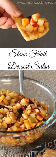This fruit salsa is the perfect summer dessert with a blend of sweet, juicy stone fruit and crunchy hazelnuts soaked in a honey, cinnamon syrup.