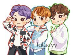 """exo-chenbaekxi: """"EXO-CBX - Chen, Baekhyun and Xiumin Fanart © as tagged """" Exo Anime, Exo Fan Art, Exo Memes, Bts And Exo, Kpop Fanart, Baekhyun, Chibi, Character Design, Kawaii"""