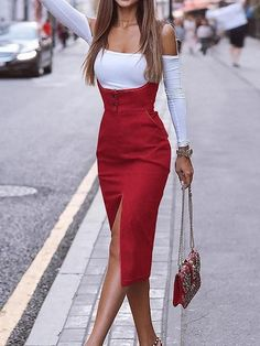 outfit for women Red Cotton Shoulder Strap Split Front Women Bodycon Dress Roter Baumwoll-Schultergurt Split Front Frauen, figurbetontes Kleid - chiclookcloset Mode Outfits, Fashion Outfits, Womens Fashion, Fashion Song, Club Fashion, Elegant Dresses, Women's Dresses, Boho Dress, Dress Up