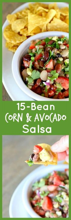 15 Corn, Bean and Avocado Salsa--the perfect picnic or potluck food. Super addicting and really easy to make too.