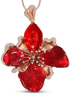 Huge Mexican fire Opal and Diamond Flower Necklace by Different Gems