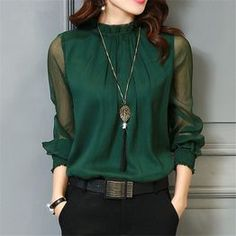 Chiffon Blouse 2018 New Women Tops Long Sleeve Stand Neck Work Wear Shirts Elegant Lady Blouses Casual Solid Color Blusas You will get this dress different types of colors like green, White, Blue and Wine Black. Mode Outfits, Casual Outfits, Winter Outfits, High Neck Blouse, High Neck Shirts, High Neck Top, Sheer Blouse, Black Blouse, Black Pants