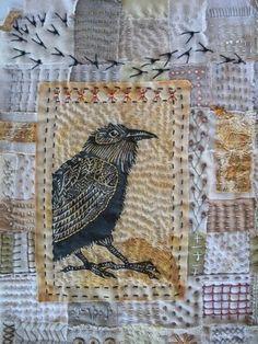 """Season of the Crow"" art quilt by Meg Fowler Small Quilts, Mini Quilts, Embroidered Bird, Bird Quilt, Hand Quilting, Crazy Quilting, Bird Art, Fabric Art, Textile Art"