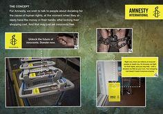 """Marketing de guerrilha da Amnistia Internacional em carrinhos de supermercado.   Ao ser colocada a moeda no carrinho de compras, os prisioneiros """"são libertados""""."""