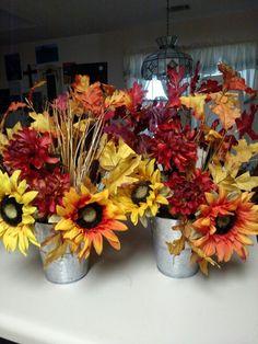 Fall sunflower in tin bucket. SW