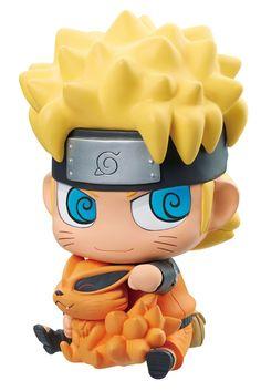 Naruto Shippuden tirelire avec figurine ChimiMega Naruto and Kurama Megahouse