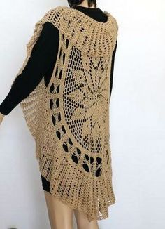 Crochet Pattern Lace Long Bohemian Vest  Circular Vest by etty2504
