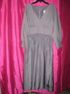 """RUNWAY glam 1960s HOLIDAY MAXI GOWN """"The Gilberts for Tally"""" gunmetal gray satin #Unbranded"""