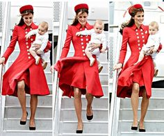 Duchess Katherine and Prince George arrive in Wellington for the start of their New Zealand Royal tour - April 2014.
