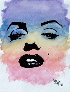 Original Marilyn Monroe Stencil Watercolor by BrietronArt