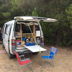 Easy Tips RV and Camper Van Storage Inspiration - van life Mini Bus, Mini Camper, Vw Camper, Eurovan Camper, Camper Table, Minivan Camping, Truck Camping, Mitsubishi Delica, Mitsubishi Suv