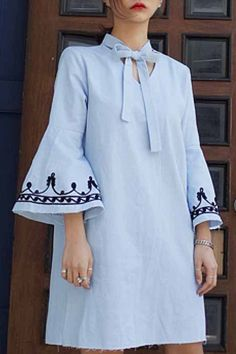 Bow Tie V-Neck Flare Sleeve Dress