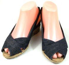 Lauren Ralph Lauren Shoes Womens Size 6 M Blue Denim Fabric Espadrilles Heels #LaurenRalphLauren #Espadrilles
