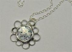 Roman glass jewelry necklace Israeli silver  jewelry