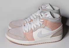 The luxurious Milan-inspired Air Jordan 1 Mid that first surfaced in mid-December appears to be finally getting a release. This new luxurious colorway of the Air Jordan 1 Mid draws inspiration from Jordan Shoes Girls, Air Jordan Shoes, Girls Shoes, Jordan 11 Outfit, Jordan Outfits, Pink Shoes, Ladies Shoes, Shoes Women, Nike Air Shoes