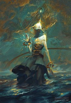 Concept art illustration by Peter Mohrbacher. Angelarium concept, The watcher (part Kokabiel - angel of stars Fantasy Creatures, Mythical Creatures, Peter Mohrbacher, Art Et Illustration, Creative Illustration, Angels And Demons, Fallen Angels, Fantasy Artwork, Fantasy Characters