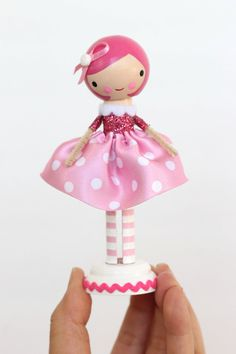 Breast Cancer Awareness clothespin doll by LeftonLynnaLane on Etsy