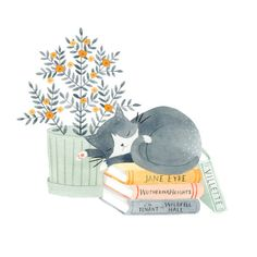 Artwork by Julianna Swaney — Brontë Kitty print ◆ An archival giclée print of an original watercolor painting. ◆ Printed on rich and weighty lightly textured paper that picks up all the subtle. Art And Illustration, Illustration Mignonne, Cute Animal Illustration, Sleeping Drawing, Cat Sleeping, Art Mignon, Sleepy Cat, Cat Drawing, Oeuvre D'art