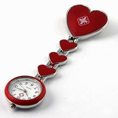 Red Cross Nurse Red Heart Pocket Watche Pendant for Doctors Hospital. Free Shipping