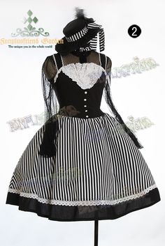 The Lady Marine Rococo Lolita & Steampunk Stripe Dress JSK & Choker*4colors Instant Shipping