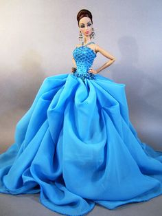 Eaki Blue Dress Outfit Clothes Gown Silkstone Barbie Fashion Royalty Designer Fr | eBay
