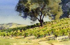 South Vineyard Oak by Mike Kowalski Watercolor ~ 10 x 14