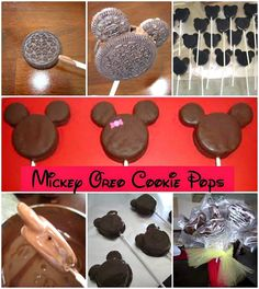 mickey oreo cookie pops for my Minnie Mouse girl.