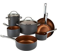 CooksEssentials 10-piece Non-Stick Hard Anodized Cookware Set