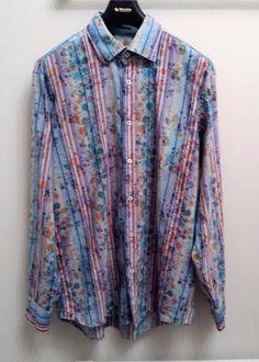 Bugatchi-Uomo-multicolor-Striped-Long-Sleeve-Mens-Casual Shirt XL
