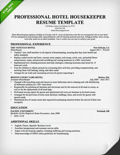 Hotel Housekeeping Resume Sample  Download This Resume Sample To