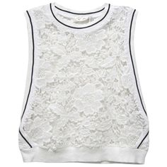 RD Style Athletic Lace Tank featuring polyvore, fashion, clothing, tops, shirts, white, white lace top, crop tank, white lace shirt, white crop top and white sleeveless shirt