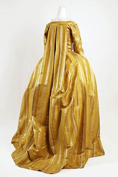 Back view, robe à la francaise, Europe, 1750-1775. Yellow and white striped silk.