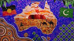 Students at an Islamic school in Melbourne are currently working on a special art project for NAIDOC Week next week. They& creating a mosaic that tells the story of the shared history between Aboriginal and Muslim people in Australia. Take a look. Naidoc Week, Currently Working, Aboriginal Art, Next Week, Muslim, Islamic, Melbourne, Art Projects, Connection