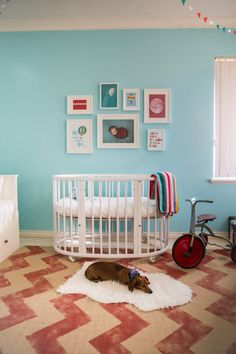 Hand Painted Red Chevron Rug - red and aqua make a surprising color combo that looks great!
