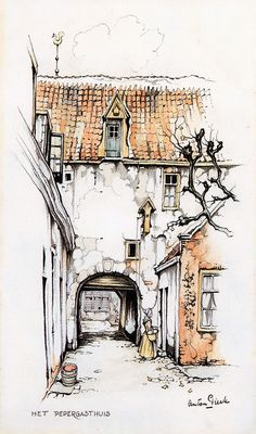 Ideas Drawing Acuarela Urban Sketchers For 2019 Croquis Architecture, Art And Architecture, Drawing Sketches, Cool Drawings, Dutch Artists, Urban Sketchers, Watercolor Sketch, Art Graphique, Art Sketchbook