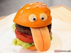 from funny sandwich Fun Dinners For Kids, Kids Meals, Kids Fun, Hamburgers, Food Design, Sandwich Original, Funny Food Pictures, Food Pics, Funny Photos